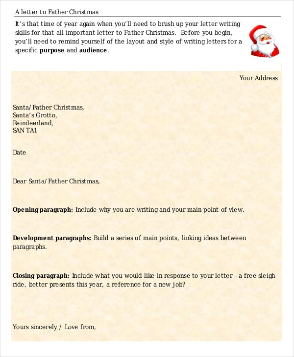 Christmas letters 12 free pdf documents download free letter to father christmas template spiritdancerdesigns Gallery