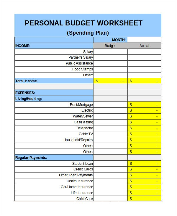 personal budget weekly expenses worksheet