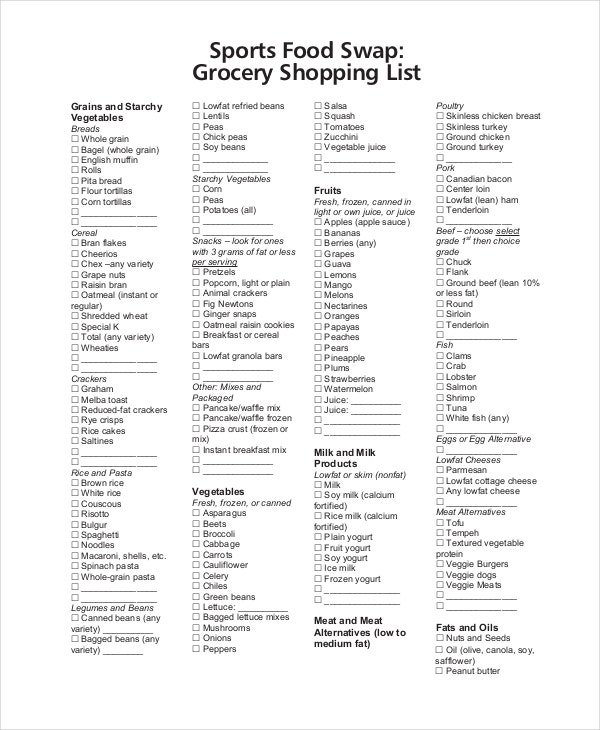 printable sports grocery shopping list