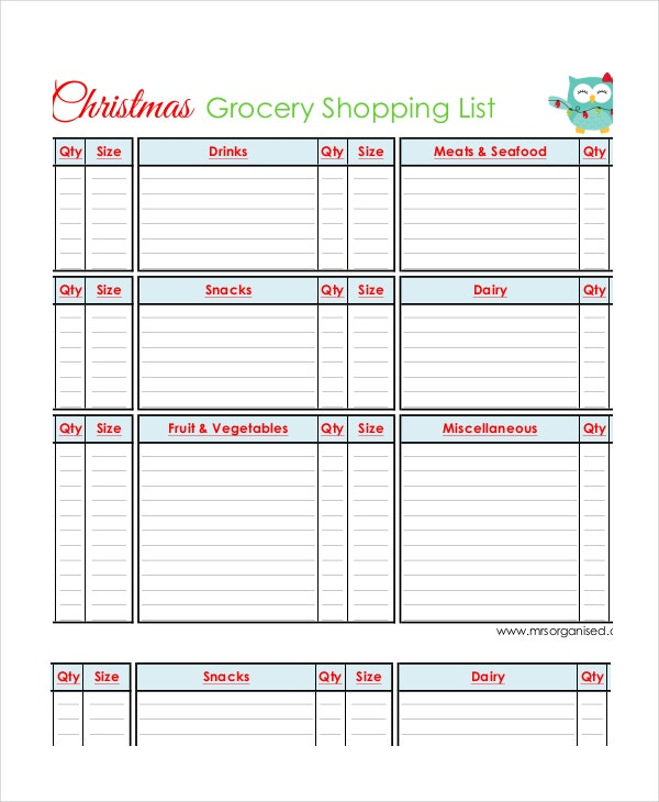 Grocery Shopping List   Free Pdf Psd Documents Download