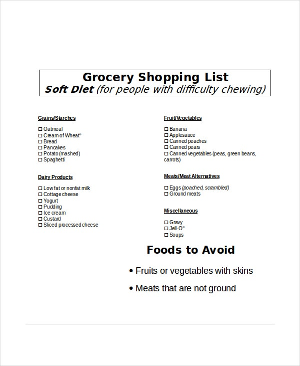 soft diet grocery shopping list template