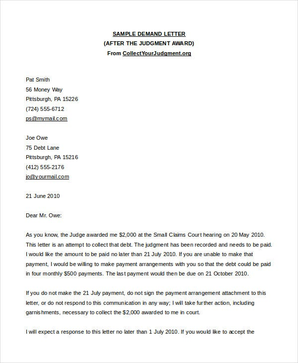 demand letter after judgement