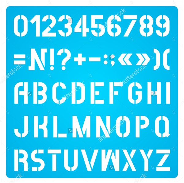 White Stencil Letters And Numbers