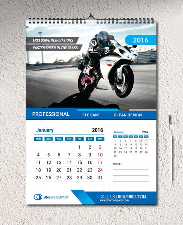 Sample Wall Calendar Template  Calendar Sample Design