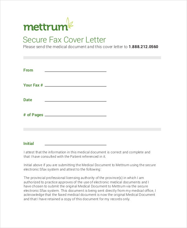 secure fax cover letter example