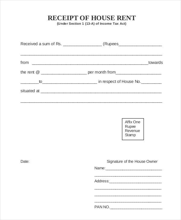Rent Receipt 9 Free Word PDF Documents Download – Receipt of House Rent Format