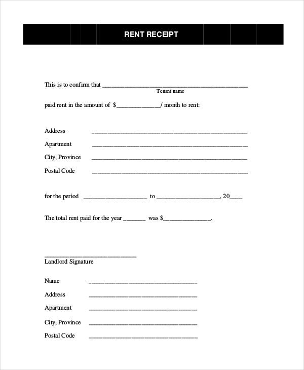 Rent Receipt 16 Free Word PDF Documents Download – Rental Receipts for Tenants