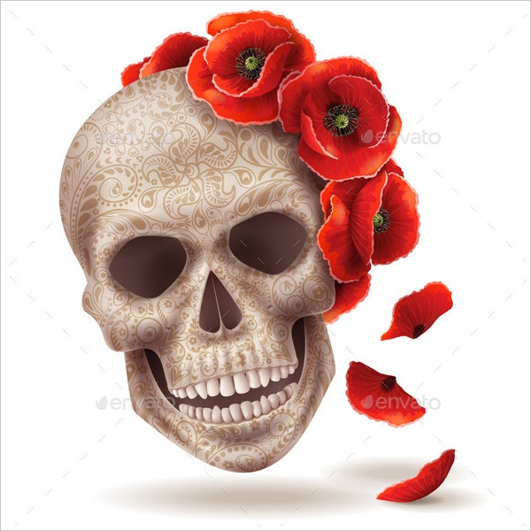 skull mask with poppy flowers