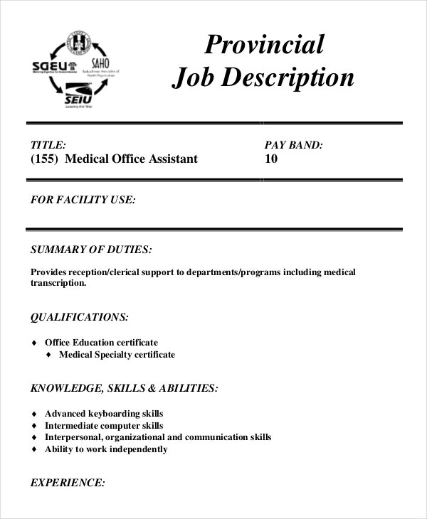 medical office assistant job description. Resume Example. Resume CV Cover Letter
