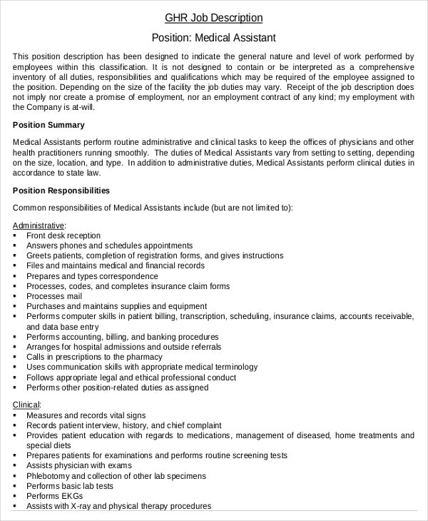 Medical Administrative Assistant Job Description