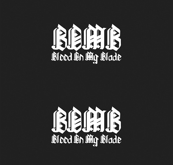 blood on my blade tattoo font
