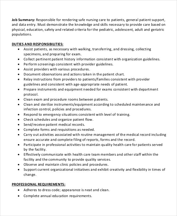 certified medical assistant job description sample - Roho.4senses.co