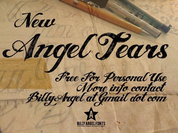 angel tears tattoo font