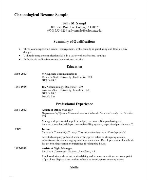 chronological resume - 10+ free word, pdf documents download ... - Chronological Resume Examples