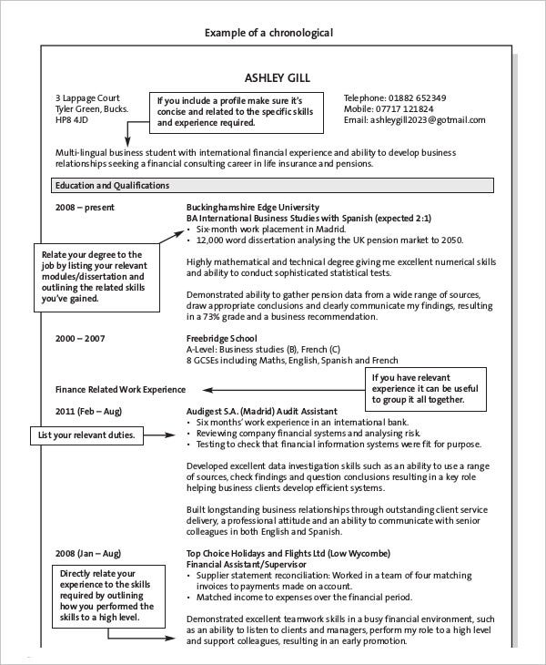 Chronological Resume Format Example Your Work Experience In