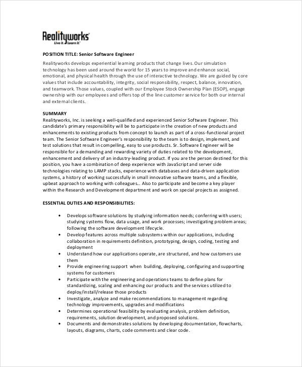 senior software engineer job description template. Resume Example. Resume CV Cover Letter