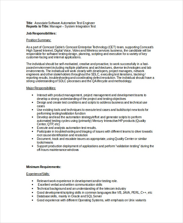 Software Engineer Job Description   Free Word Pdf Psd