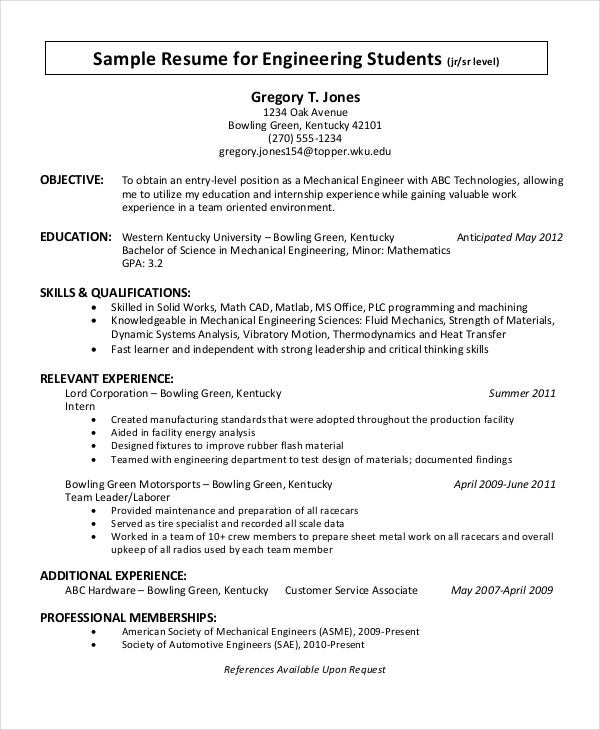 Free Sample Resume for Engineering Students  jr sr level  for PDF Example