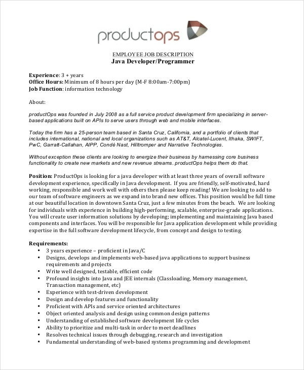 11 Software Engineer Job Description Templates Pdf Doc