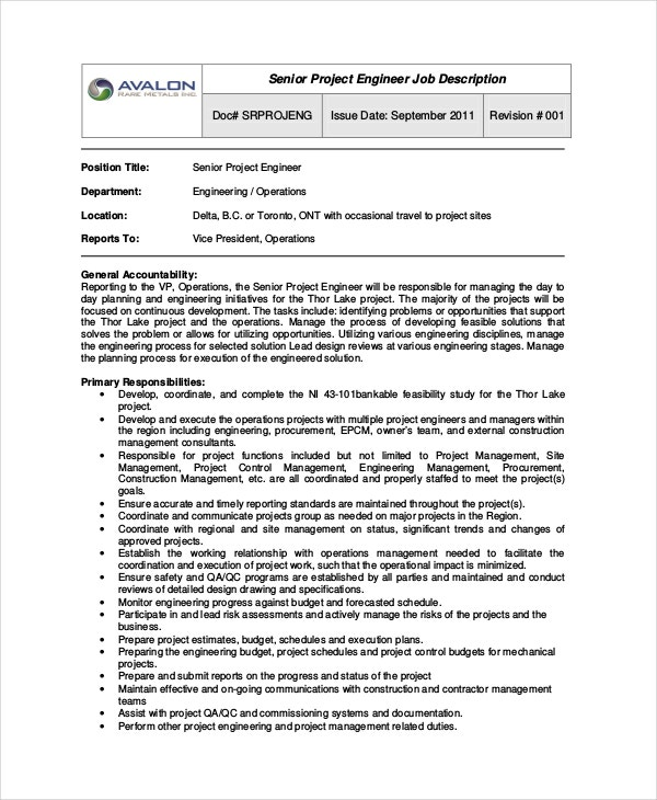 Marvelous Senior Project Engineer Job Description
