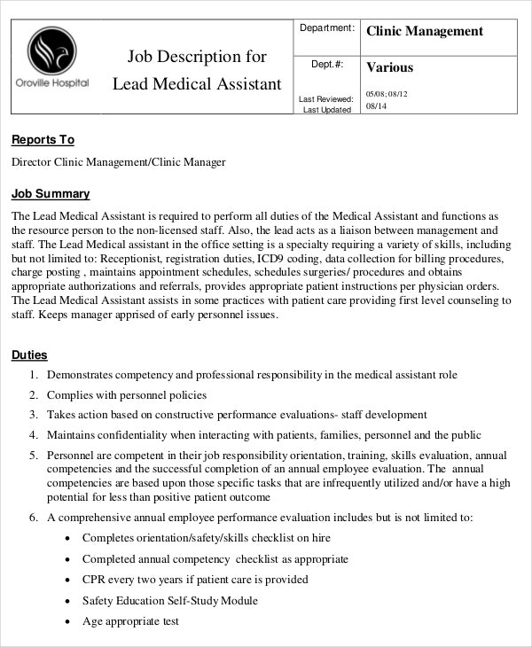 Lead Medical Assistant Job Description