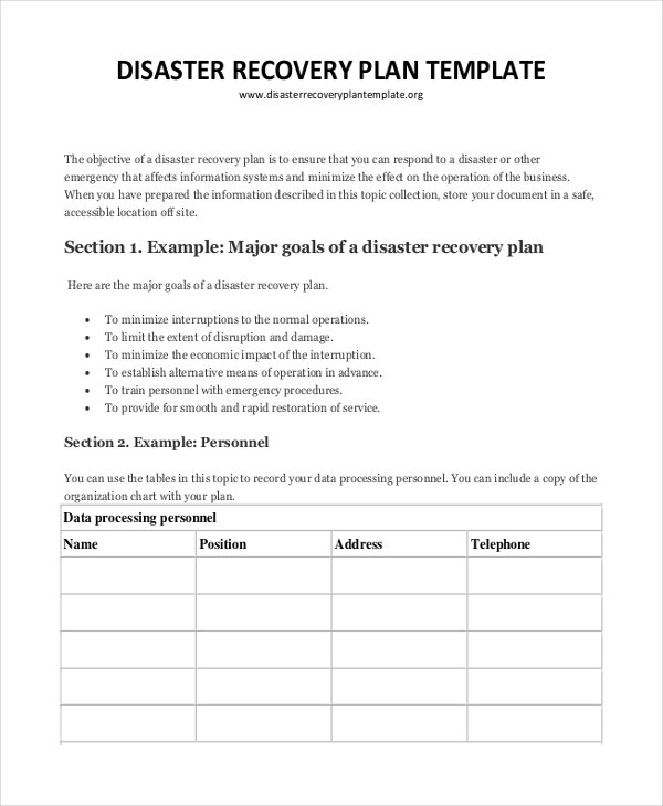 Plan template 18 free word pdf psd indesign format for Hospital disaster recovery plan template