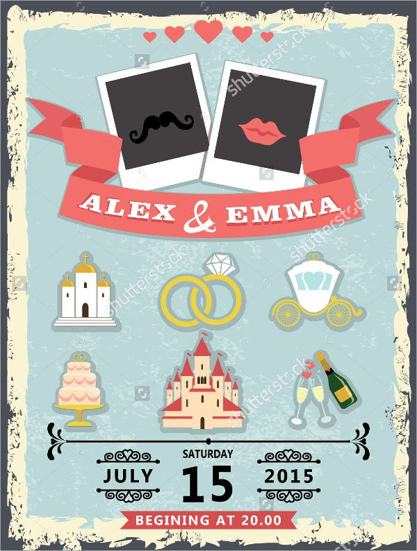 Humorous Wedding Invitation with Photo Template