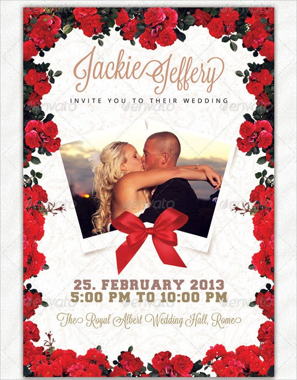 Red & White Photo Wedding Invitations