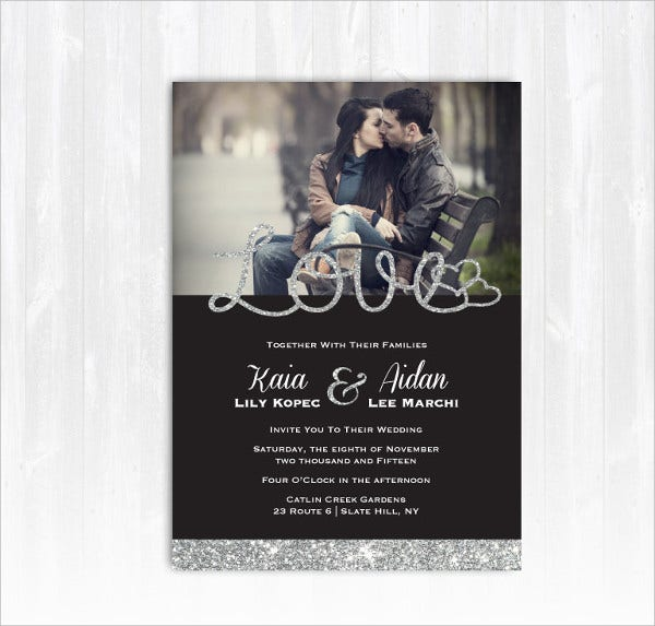 Silver Glitter Wedding Invitation with Photo