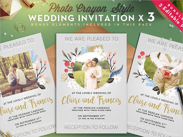 Unique Design Photo Wedding Invitations