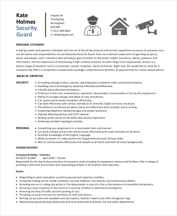 Security Guard Resume   Free Sample Example Format  Free