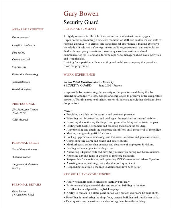 sample experienced security guard resume template