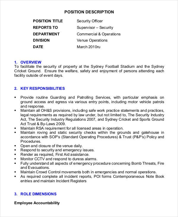 event security guard resume template in pdf