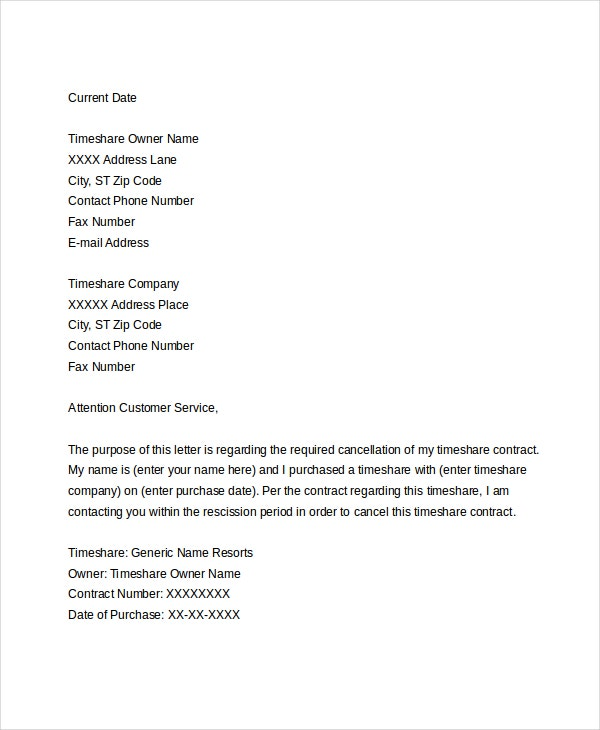 timeshare cancellation letter sample