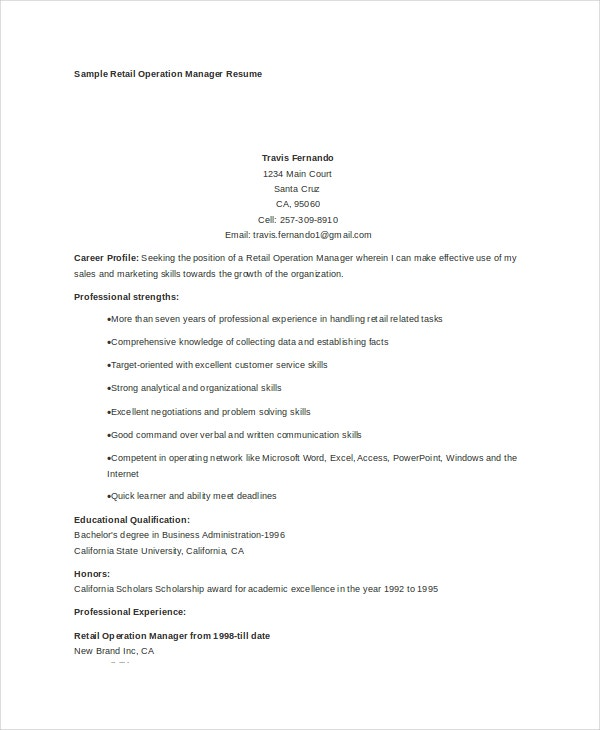 Sample Retail Operations Manager Resume