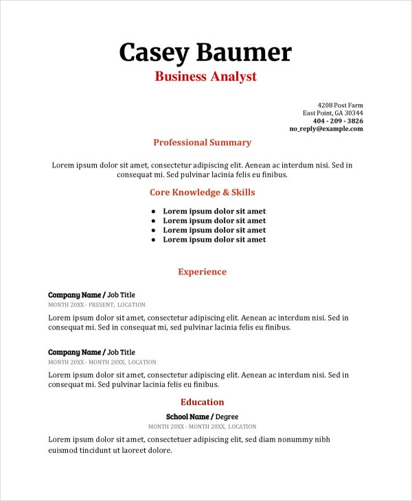 business analyst resume word example professional template
