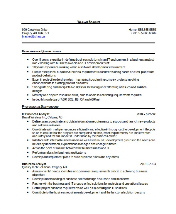 business analytics resume