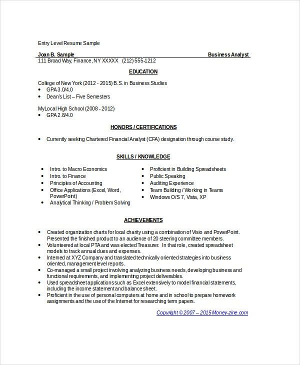 sample entry level business analyst resume - Financial Analyst Resume