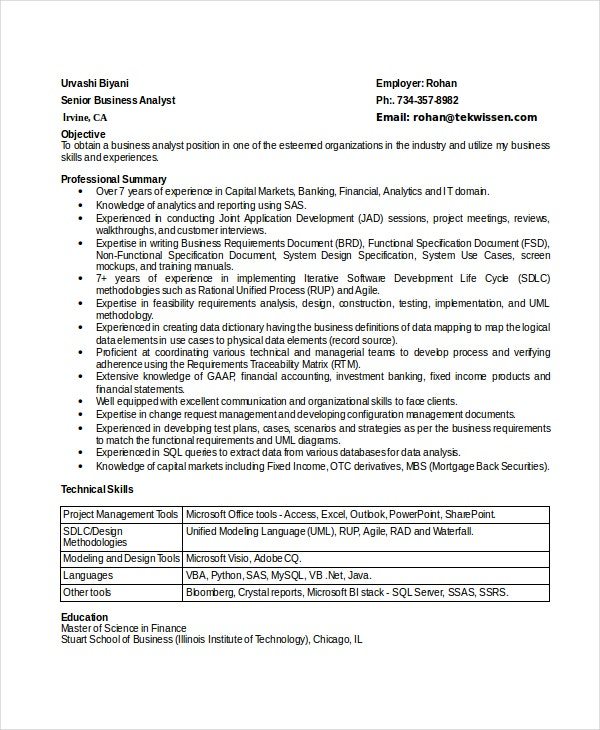 senior business analyst resume format doc examples australia analysis template