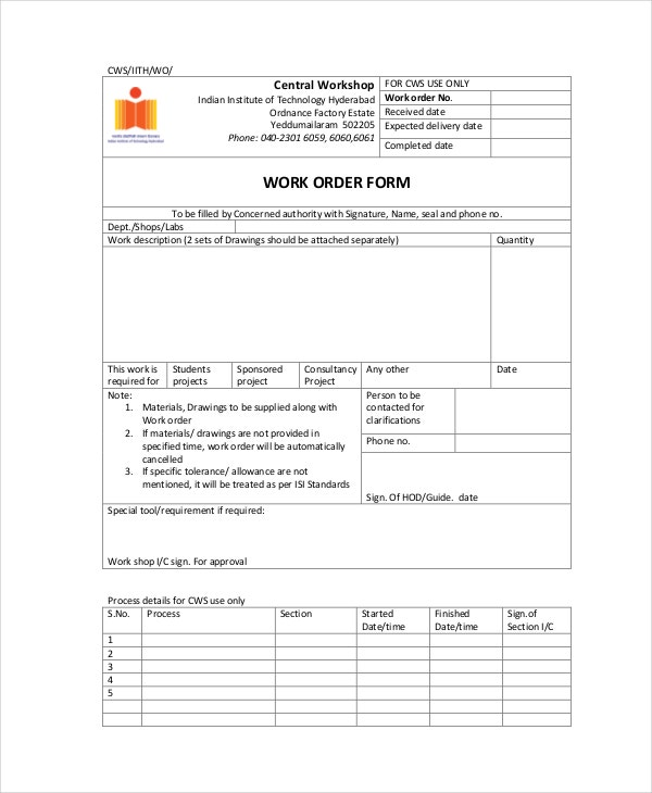 Work Order Form Template  Delivery Order Form Template