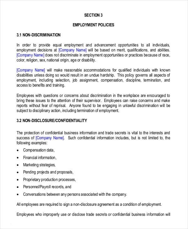 Employee Handbook Template Datariouruguay