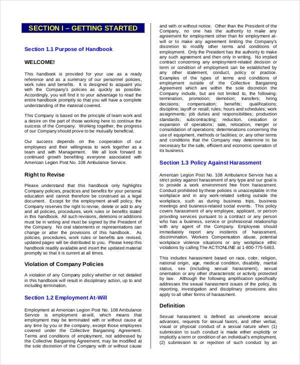 Good Employee Handbook Cover Page Template