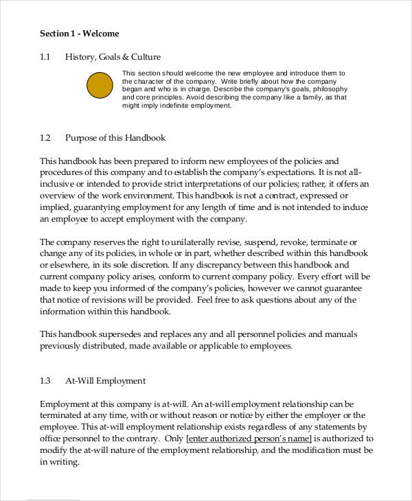 Employee handbook template 12 free sample example format free model employee handbook for small business accmission Choice Image
