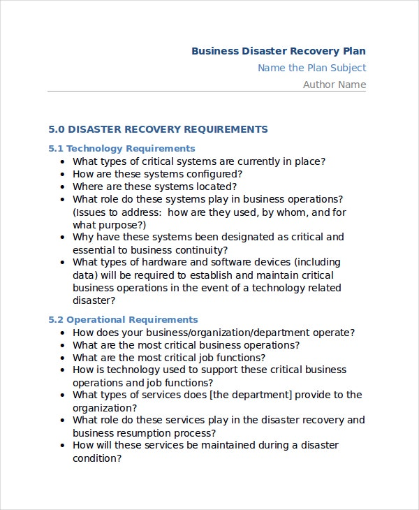 Disaster Recovery Plan Templates Free Sample Example Format - Simple disaster recovery plan template for small business