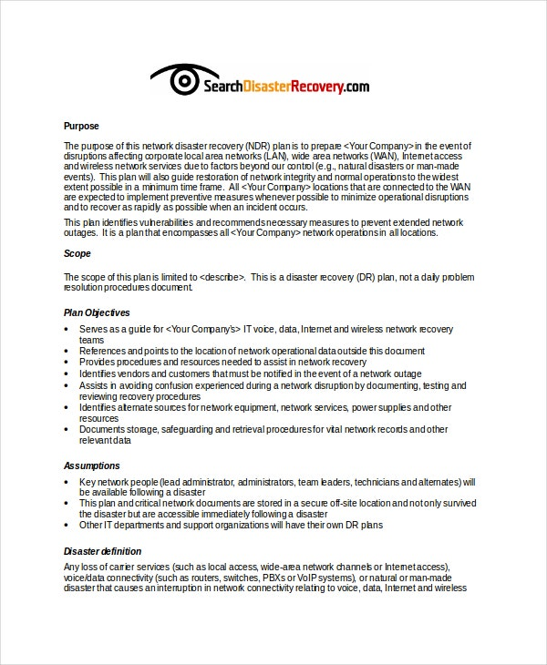 Network Disaster Recovery Plan Example Template