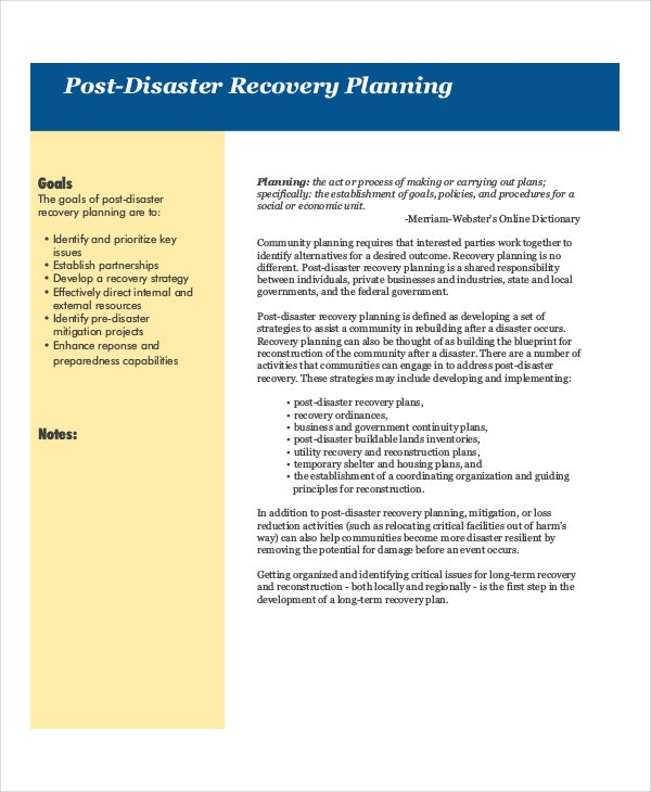 Disaster Recovery Plan Templates  Free Sample Example Format