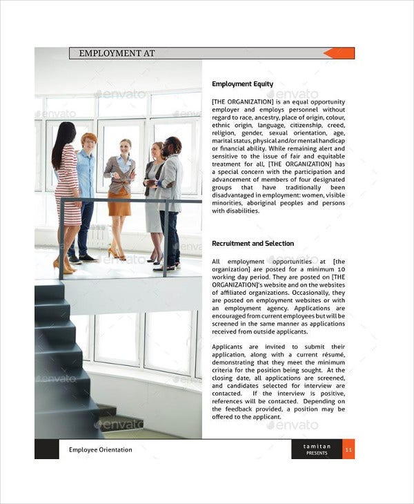 Employee Handbook Template Sample Student Employee Training Manual