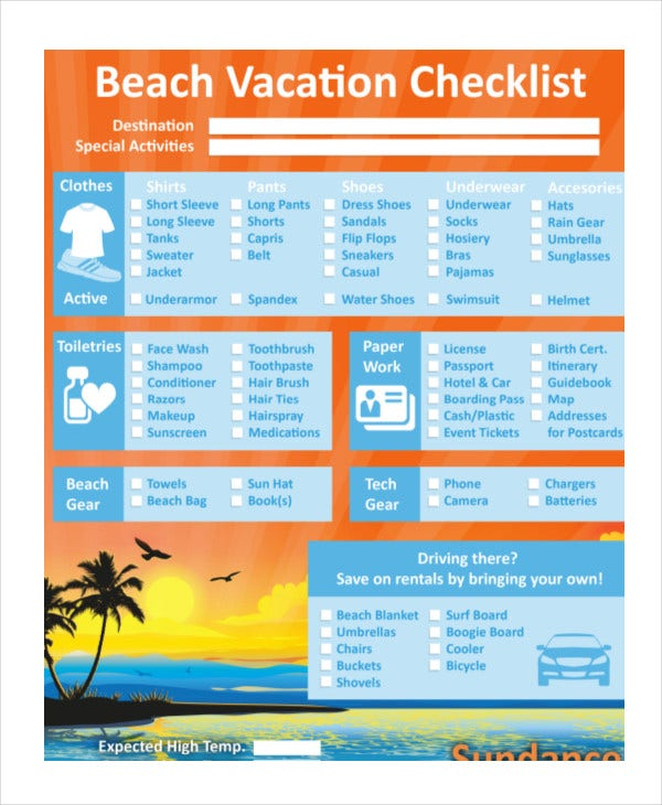Vacation Checklist Template   Free  Documents Downlaod