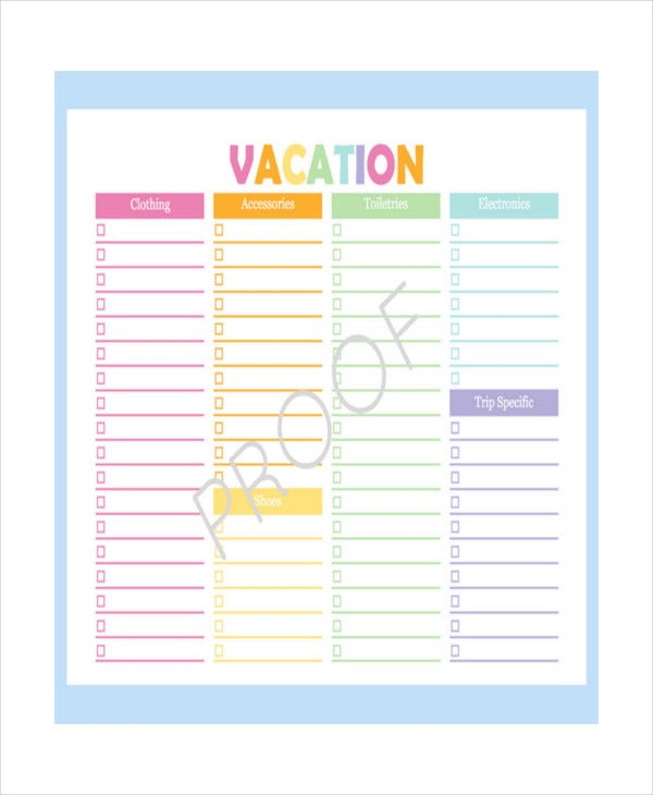 Vacation Checklist Template 12 Free Pdf Documents