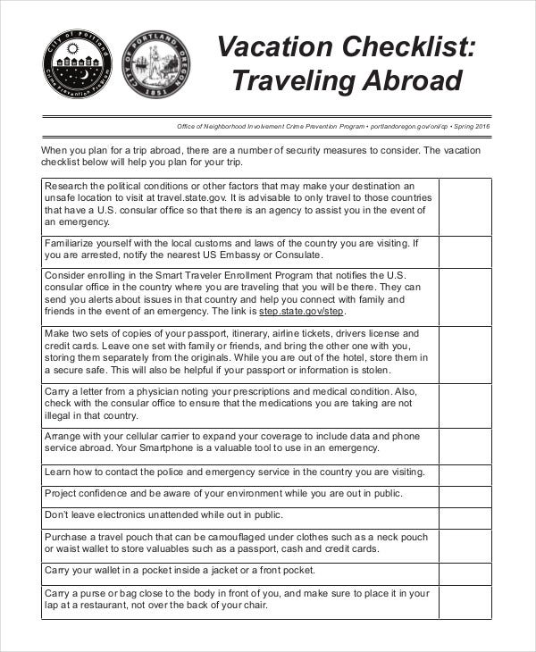 Vacation Checklist Template - 12+ Free Pdf Documents Downlaod